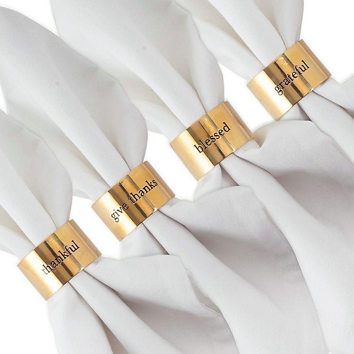 Dii Always Grateful Stamped Napkin Rings In Gold Set Of 4 Bed Bath Beyond