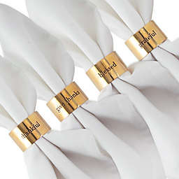 "DII® ""Always Grateful"" Stamped Napkin Rings in Gold (Set of 4)"