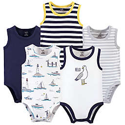 Touched by Nature® 5-Pack Seagull Organic Cotton Bodysuits