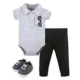 Little Treasure® Size 0-3M 3-Piece Collar Bodysuit, Pant, and Shoe Set