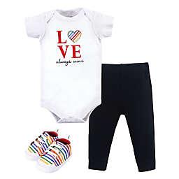 """Little Treasure Size 12-18M 3-Piece """"Love Always Wins"""" Bodysuit, Pant, and Shoe Set"""