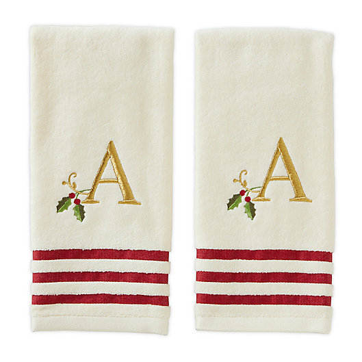 Alternate image 1 for Saturday Knight Holly Monogram Hand Towels (Set of 2)