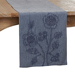 Saro Lifestyle 72-Inch Floral Table Runner in Denim
