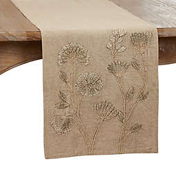 Saro Lifestyle Floral 72-Inch Table Runner in Taupe