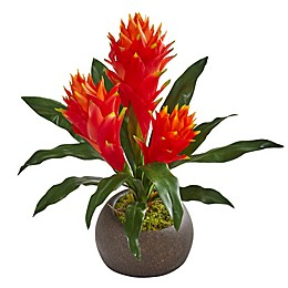 Nearly Natural 15-Inch Artificial Triple Bromeliad in Planter