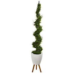 Nearly Natural 75-Inch Artificial Cypress Spiral Tree in Planter