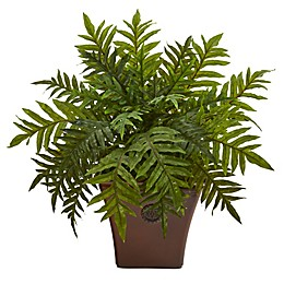 Nearly Natural 24-Inch Artificial Hare's Foot Fern in Planter