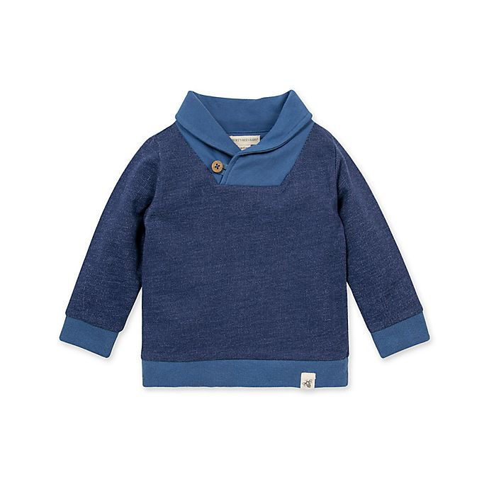 Alternate image 1 for Burt's Bees Baby® French Terry Shawl Collar Sweatshirt in Navy
