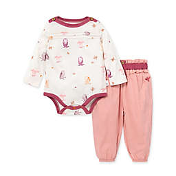 Burt's Bees Baby® Size 9M Owls and Leaves Organic Cotton Bodysuit and Pant Set in Ivory