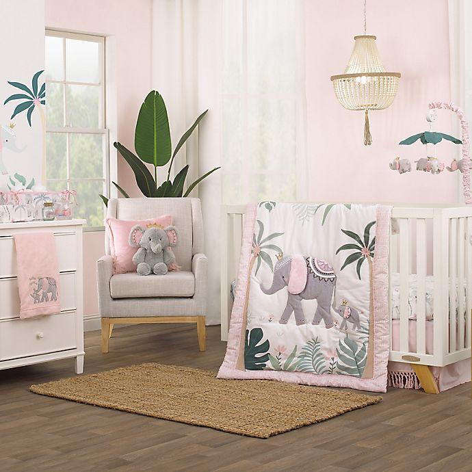 Alternate image 1 for NoJo® Tropical Princess 4-Piece Crib Bedding Set in Pink/White