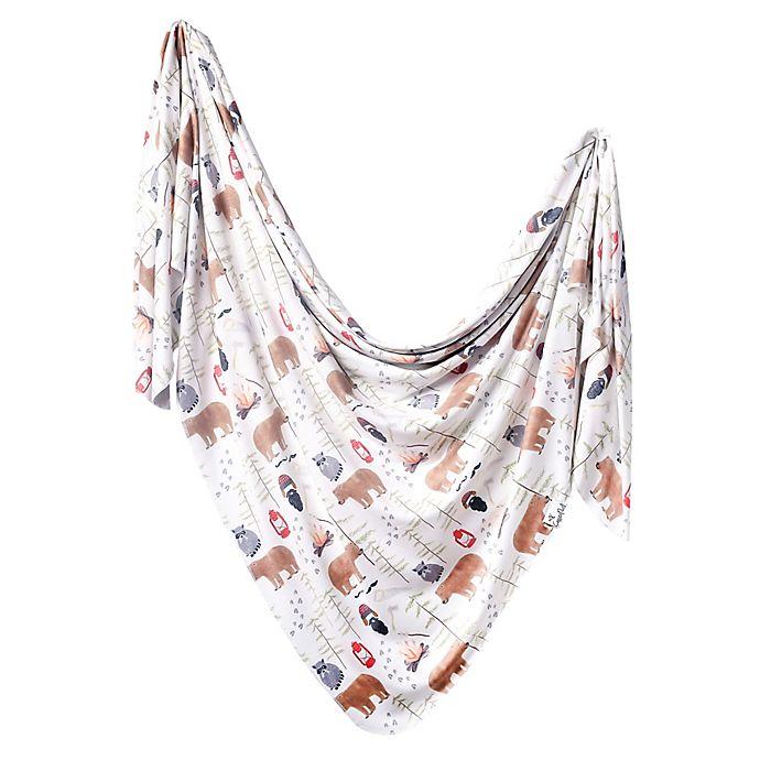 Alternate image 1 for Copper Pearl™ Lumberjack Swaddle Blanket in White