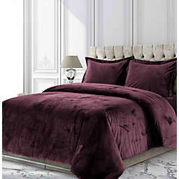 Tribeca Living Venice Velvet 3-Piece King Duvet Cover Set in Plum