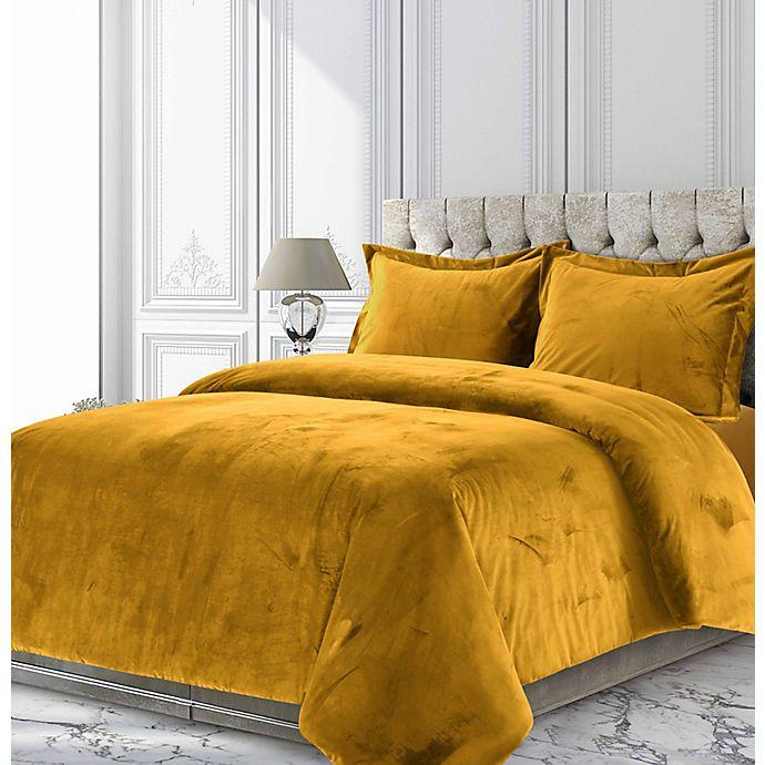 Alternate image 1 for Tribeca Living Venice Velvet 2-Piece Twin Duvet Cover Set in Gold