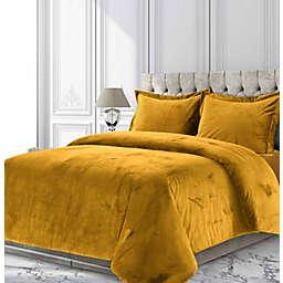 Tribeca Living Venice Velvet 2-Piece Twin Duvet Cover Set in Gold