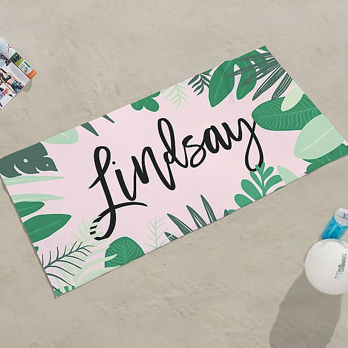 Alternate image 1 for Palm Leaves Personalized Beach Towel
