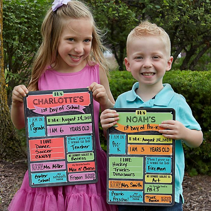 Alternate image 1 for First Day of School 9-Inch x 12.5-Inch Personalized Dry Erase Sign