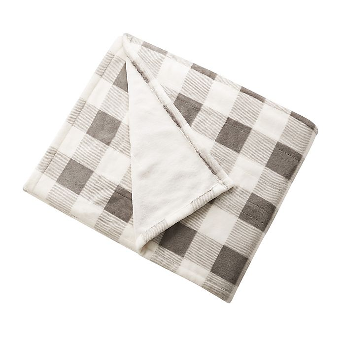 Alternate image 1 for Brookstone® n-a-p® Heated Plush Throw Blanket in Ivory/Grey