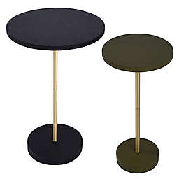 O&O by Olivia & Oliver™ 2-Piece Pedestal Accent Table Set in Black/Green