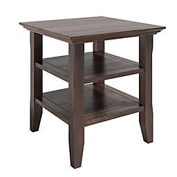 Simpli Home® Acadian Solid Wood End Table in Warm Walnut Brown