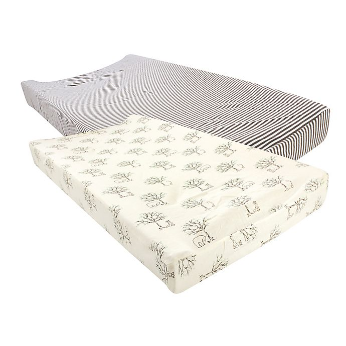Alternate image 1 for Touched by Nature 2-Pack Birch Changing Pad Covers in Beige