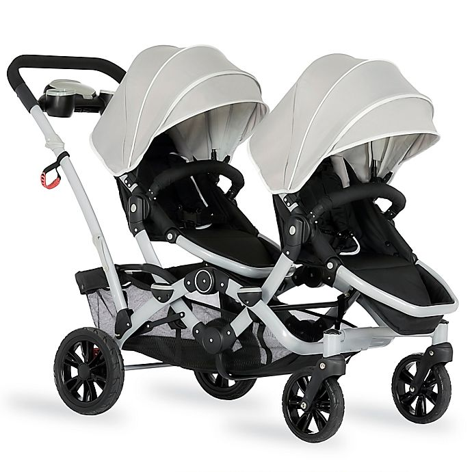 Alternate image 1 for Dream on Me Track Tandem Stroller Face to Face Edition in Light Grey