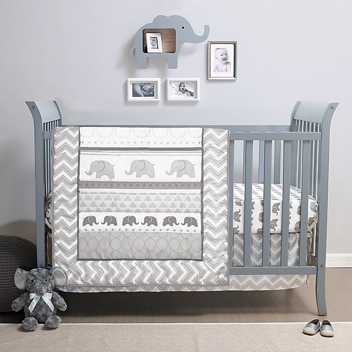 Alternate image 1 for The Peanutshell™ Elephant Walk 3-Piece Crib Bedding Set in Grey/White