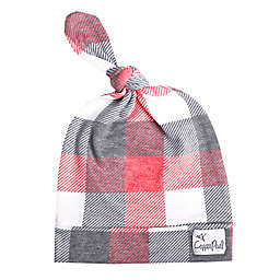 Copper Pearl Size 0-4M Jack Top Knot Hat in Red/Grey