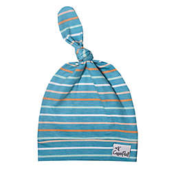 Copper Pearl™ Size 0-4M Milo Top Knot Hat in Blue/Grey