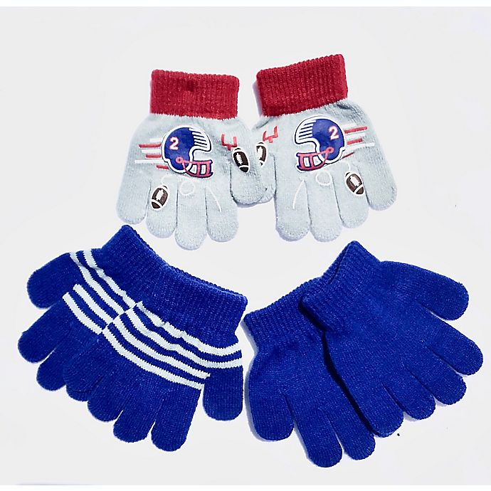 Alternate image 1 for Toby Fairy™ 3-Pack Football Toddler Gripper Mittens