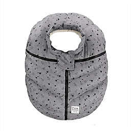 7AM Enfant Car Seat Cocoon Cover with Plush Lining in Heather Grey Stars