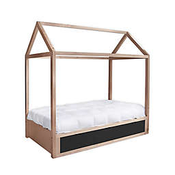 Nico & Yeye Domo Zen Twin Canopy Bed with Storage in Maple