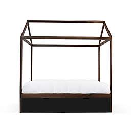 Nico & Yeye Domo Zen Twin Canopy Bed with Trundle in Walnut/Black