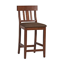 Slatted Back Wood Bar Stool with Padded Seat in Espresso/Brown