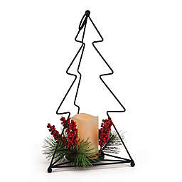Elements 16-Inch Christmas Tree Lantern with LED Candle