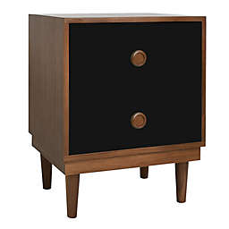 Nico & Yeye Lukka 2-Drawer Kids Nightstand in Walnut/Black