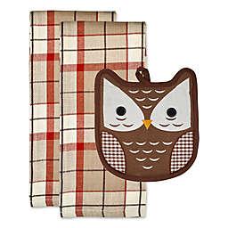 DII® 3-Piece Embellished Autumn Owl Potholder & Kitchen Towels Gift Set