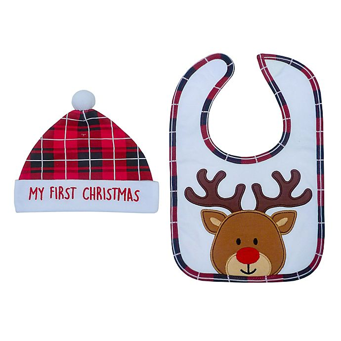 Alternate image 1 for Neat Solutions® 'My First Christmas' Bib and Hat Set