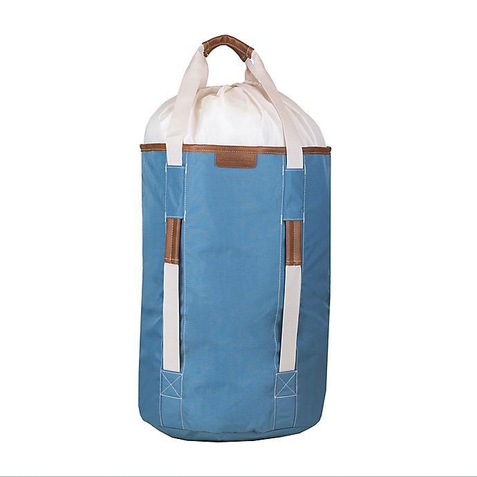 Alternate image 1 for CleverMade® Drawstring Duffel Laundry Bag in Blue