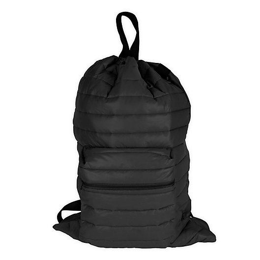 Alternate image 1 for Clevermade® Puffer Backpack Laundry Bag in Black