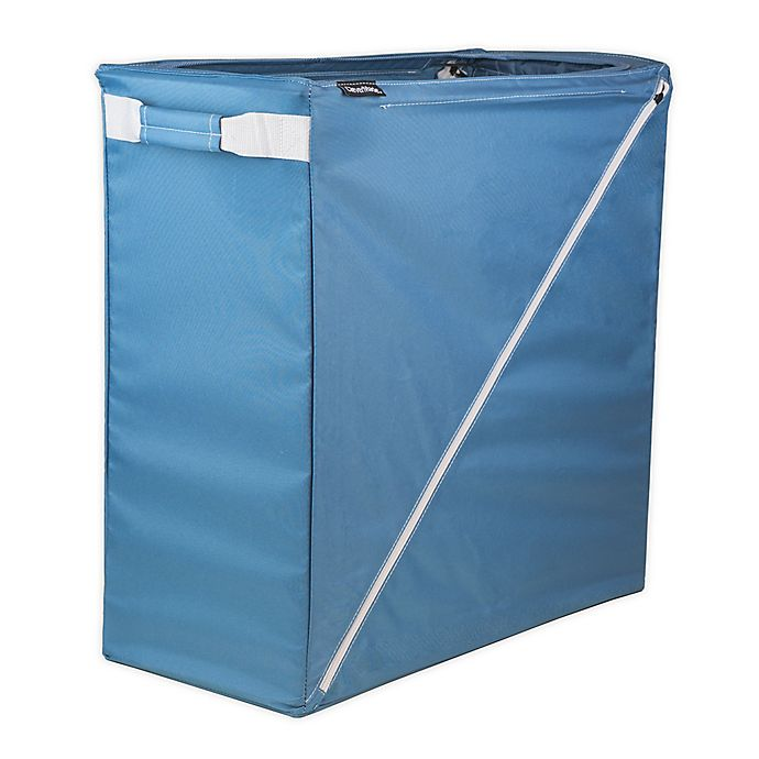 Alternate image 1 for CleverMade® Sparrow Collapsible Steel Laundry Hamper in Blue
