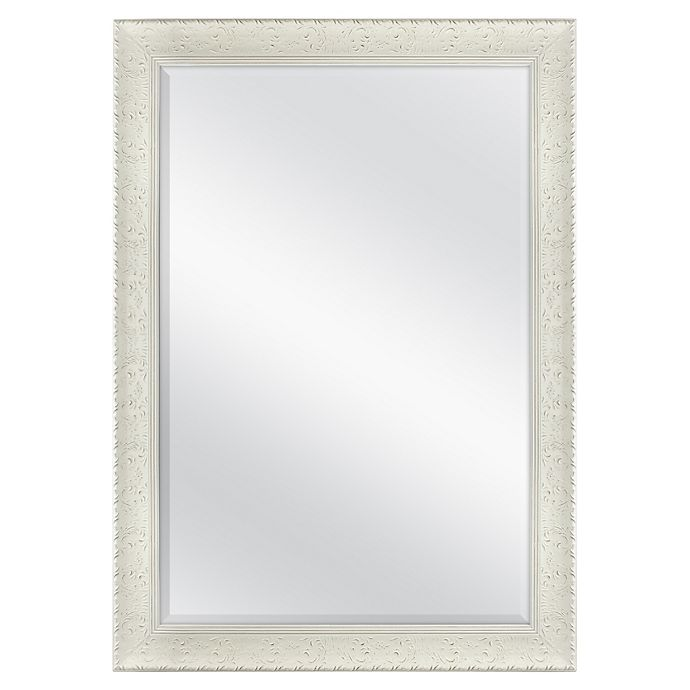 Floral 29 5 Inch X 41 5 Inch Rectangular Decorative Wall Mirror In White Bed Bath Beyond