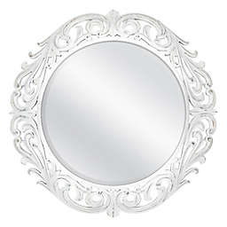 30-Inch Round Ornate Carved Wall Mirror