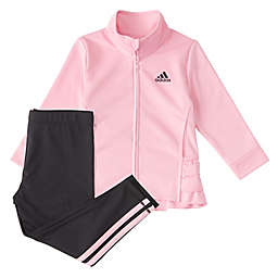 adidas® Ruffle Tricot Jacket Tight Set in Pink/Black