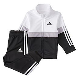 adidas® 2-Piece Colorblock Varsity Track Jacket and Pant Set in White/Black