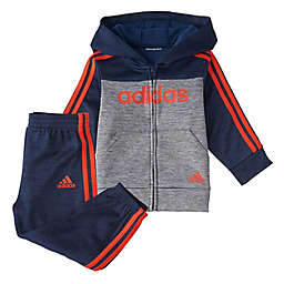 Adidas® Block Fleece Set in Navy/Grey/Orange
