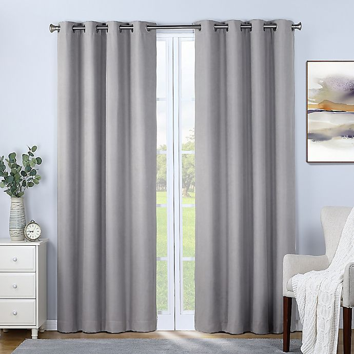 Alternate image 1 for Therapedic® Nantes 108-Inch 100% Blackout Grommet Curtain Panel in Light Grey (Single)