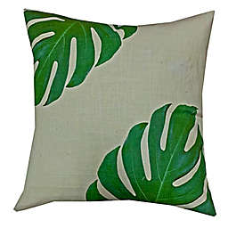 Patra Block Printed Floral Square Throw Pillow in Green