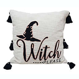 """""""Witch Please"""" Embroidered Square Throw Pillow in Ivory"""