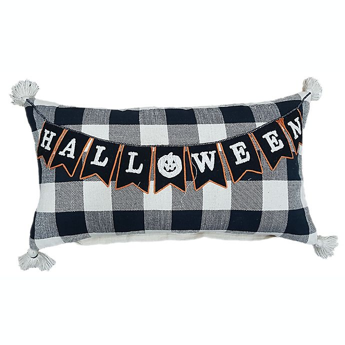 Alternate image 1 for Halloween Embroidered Oblong Throw Pillow in Black/White