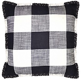 Frayed Checkered Square Throw Pillow in Black/White
